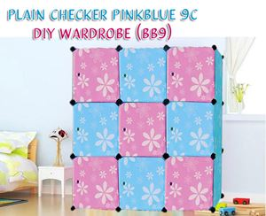 PLAIN CHECKER PINKBLUE 9C DIY WARDROBE (BB9)