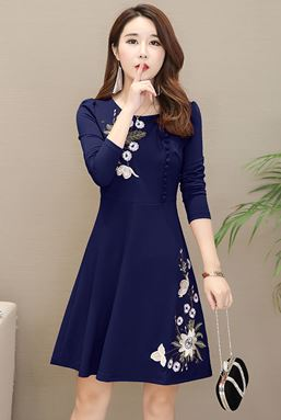 Embroidered Long-sleeved A-Line Dress