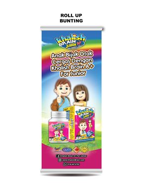 Design A, Roll-up Bunting Stand, Khalish Brain A+, 1 pcs