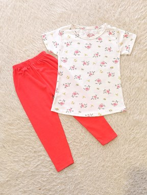 [SIZE 1/2Y, 5/6] Girl Set : CARNATIONS AND TULIPS WHITE WITH RED PANT (1y - 8y) SPG