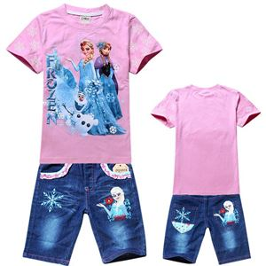 Frozen Pink Set 2 - Tee+Pants Jeans