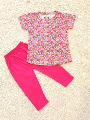 [SIZE 1/2Y - 3/4Y, 7/8Y] Girl Set : SMALL PINK FLOWER WITH HOT PINK PANT (1y - 8y) SPG