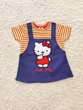 Baby Dress : Denim Kitty Orange Stripes