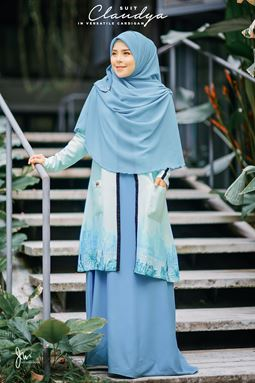 CLAUDYA SUIT IN VERSATILE CARDIGAN (SEABLUE)