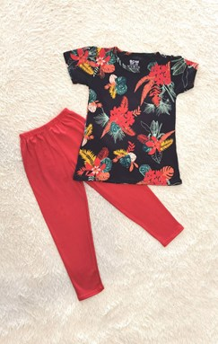 [SIZE 1/2Y] Girl Set : TROPICAL FLOWER BLACK WITH RED PANT (1y - 8y) SDM