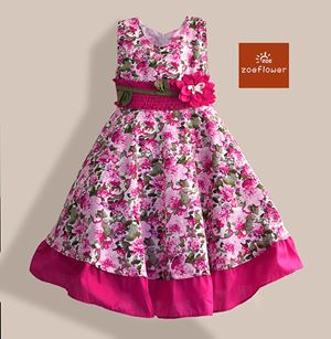 @  WS-ZF201524-002 ZOE FLOWER DRESS ( Size 6-10y )