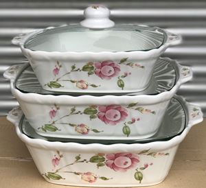CASSEROLES SET COUNTRY ROSE