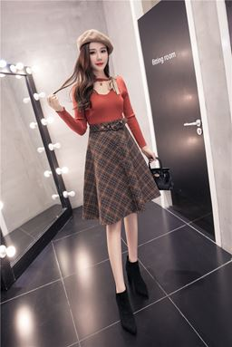 Chic Woolen Retro A-Line Skirt