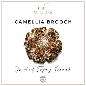 Brooch Camellia - Smoked Topaz Peach