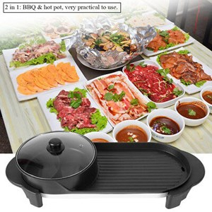 2 IN 1 PAN GRILL & BBQ STEAMBOAT Extra Long 70cm