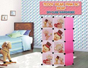 Teddy Bear PINK 8C DIY CUBE WARDROBE (BE8P)