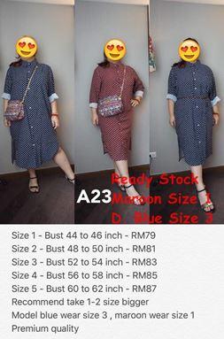 A23 * Ready Stock * Bust 40-62inch/ 102-157cm