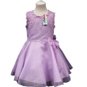 #L108 PUPRLE GIRLS CHIFFON DRESS WITH LACE