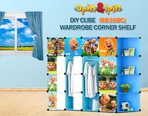 NEW Upin & Ipin BLUE 16C DIY Wardrobe with Corner Shelf (BB16BC)