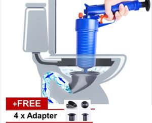 Plunger High Pressure Air Drain Blaster Cleaner Toilets Drain + 4 Adapters