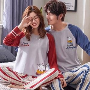 KOREAN STYLE COUPLE LONG SLEEVE SLEEPWEAR - SET 3    ( SIZE M - 3XL )