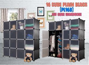 Plain Black 16 Cube DIY Wardrobe (PL16B)