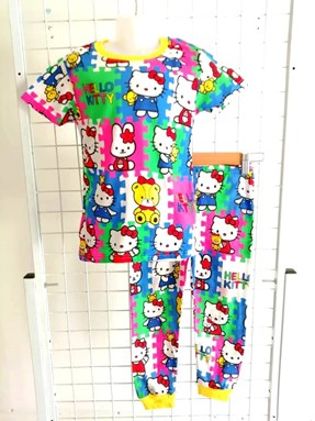 Pyjamas  HELLO KITTY PUZZLE  : KIDS size 2 - 10