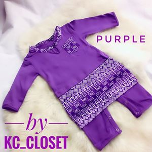 BAJU MELAYU ROMPER / JUMPER WITH ATTACHED SAMPIN (  PURPLE)