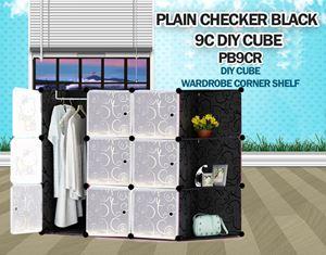 Plain Black 9C DIY Cube w Corner Rack (PB9CR)