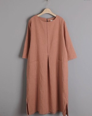 Cotton Linen Caftan (Brick)