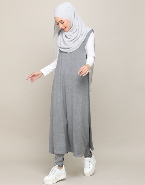 EDNA SLEEVELESS DRESS IN GREY