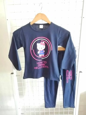 Pyjamas PLAIN HELLO KITTY DRAW Blue Black - Long Sleeve (Big Size) 9y-14y
