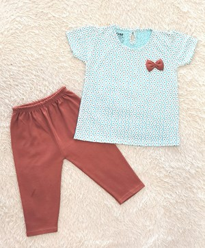 Baby Girl Set : SMALL WHITE FLOWER MINT GREEN WITH BROWN PANT (12m - 36m) SDM