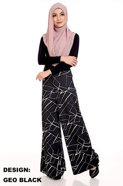 Palazzo Printed (GEO BLACK) Maternity Friendly with Adjustable Waistband