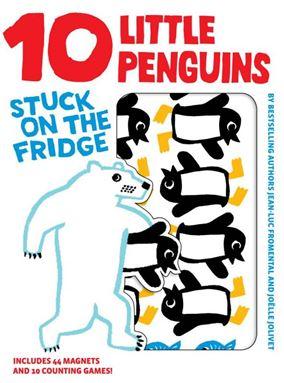 10 little penguin stuck on the fridge