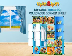 NEW Upin & Ipin BLEU 17C DIY Wardrobe with Corner Shelf (BB17BC)