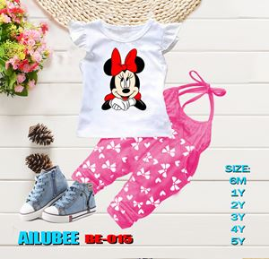 BE015 ( MINNIE PINK - SHORT SLEEVE ) AILUBEE BABY JUMPSUIT 2PCS SET