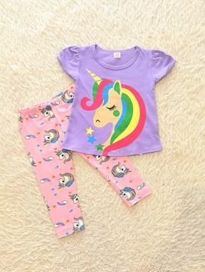 [SIZE 9/12M] Girl Set Purple Rainbow Unicorn With Unicorn Pant