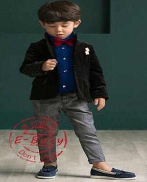 @  BOY 3 PCS SET - BLUE  ( Top + Pant + Bowtie )