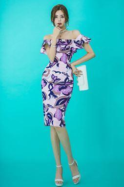 Ruffled Slim Off Shoulder Dress