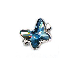 Brooch Butterfly Luxe Denim Blue