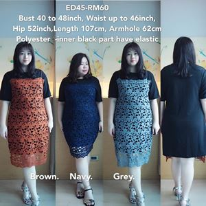 ED45 Ready Stock *Bust 40 to 48inch/ 101-122cm