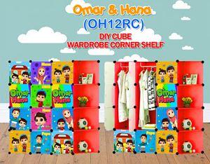 Omar & Hana RED 12C DIY WARDROBE w CORNER RACK (OH12CR)