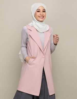 AFIYA LONG VEST IN DUSTY PINK