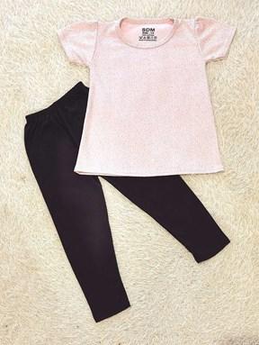 [SIZE 1/2Y] Girl Set : GREY GLITTER PINK WITH BLACK PANT (1y - 8y) SDM
