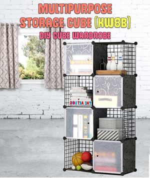Multipurpose Storage 8 Cube Black DIY Cube (KW8B)