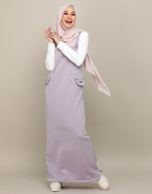 ADELINE OVERALL DRESS IN DUSTY MAUVE