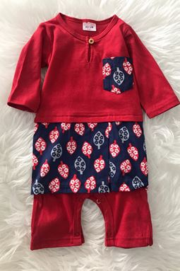 Rompers Baju Melayu ( Red with Leaf Abstract Design ) 6-9m
