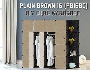 Plain Brown 16C DIY Wardrobe With Corner Rack (PB16BC)