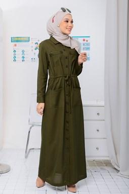 VAXSINA DRESS OLIVE GREEN