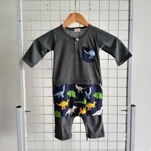 Baju Melayu Rompers (Grey with Dinosaur Sampin ) 12m - 24m