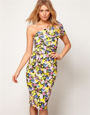 One Shoulder Pencil Dress in Floral Print