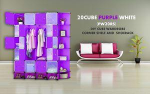20Cube Purple White DIY Cube w Corner Rack & Shoerack (PW20RS)