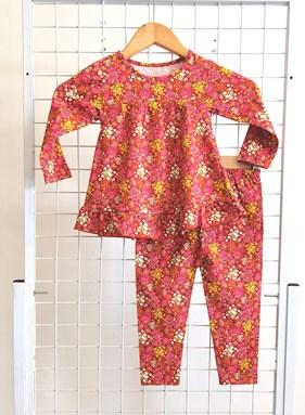 [SIZE 3/4Y] Pyjamas Dollset - SMALL FLOWERS RED - size 3T - 8T (SPG)
