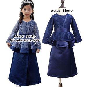Coolelves Baju Kurung Blue Lace Peplum (1-12y)